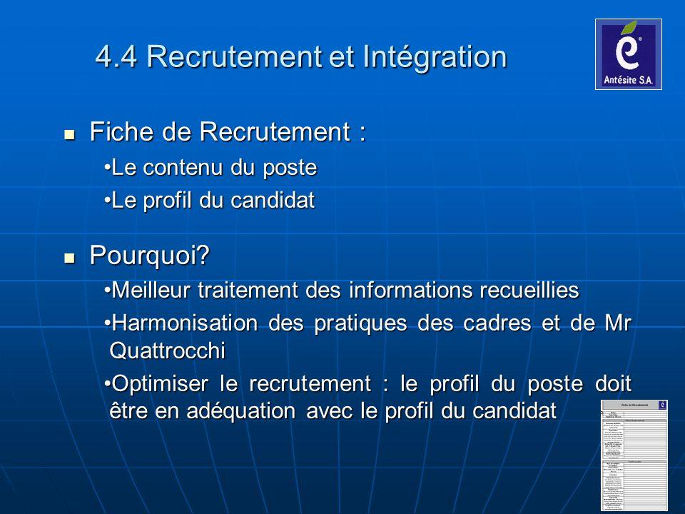 4.4 Recrutement et Intégration