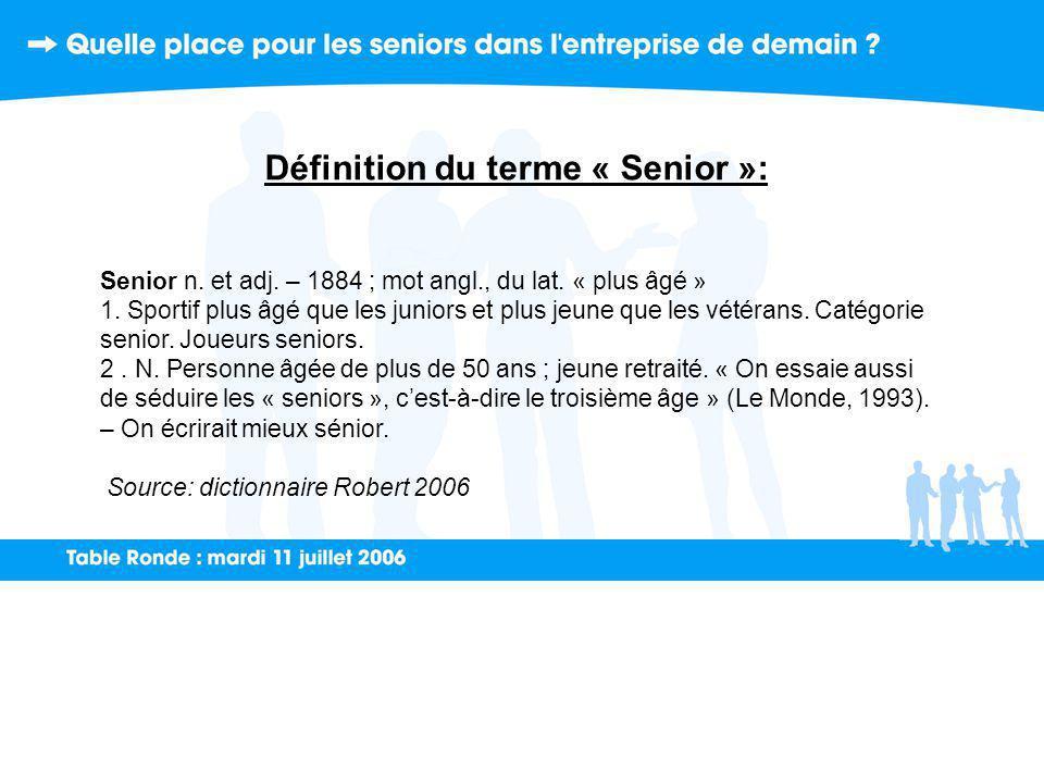 Définition du terme « Senior »: