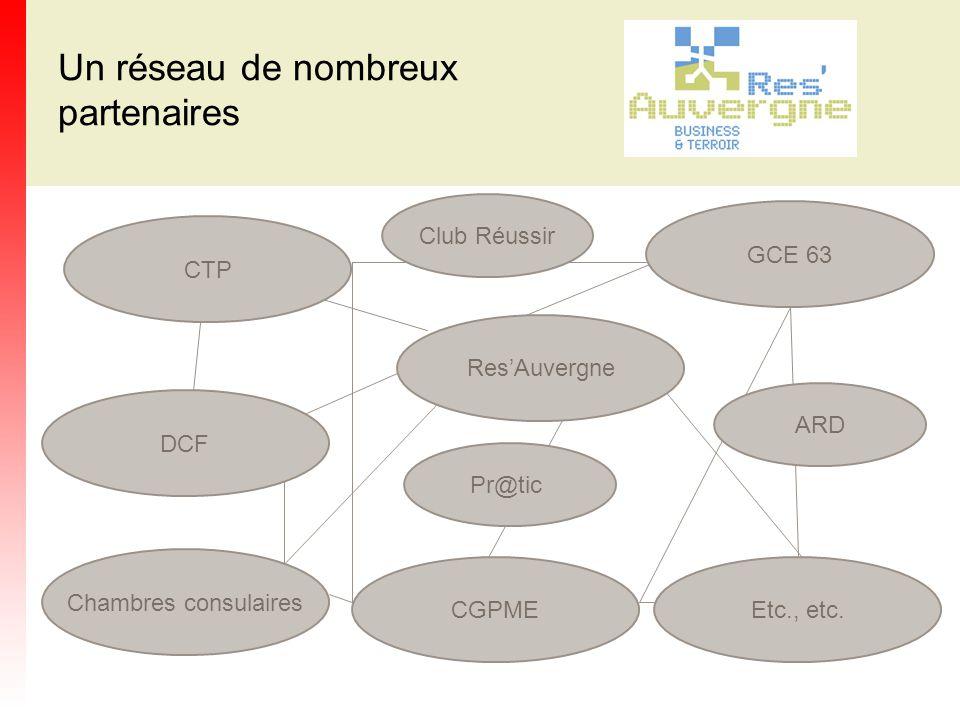 Un réseau de nombreux partenaires Club Réussir GCE 63 CTP Res'Auvergne