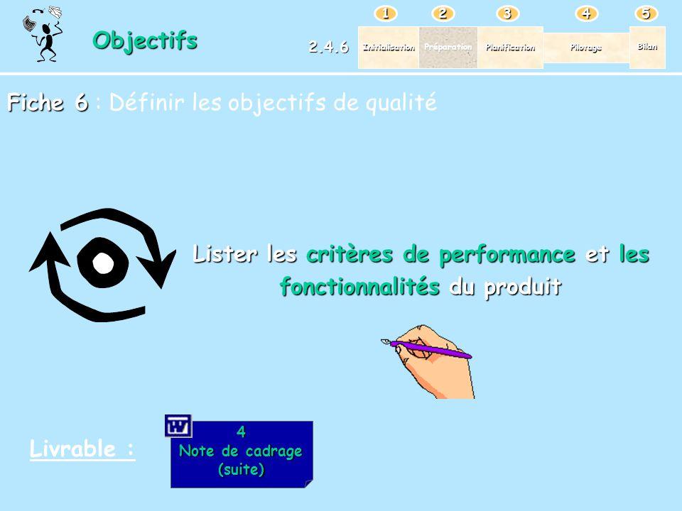 Lister les critères de performance et les fonctionnalités du produit