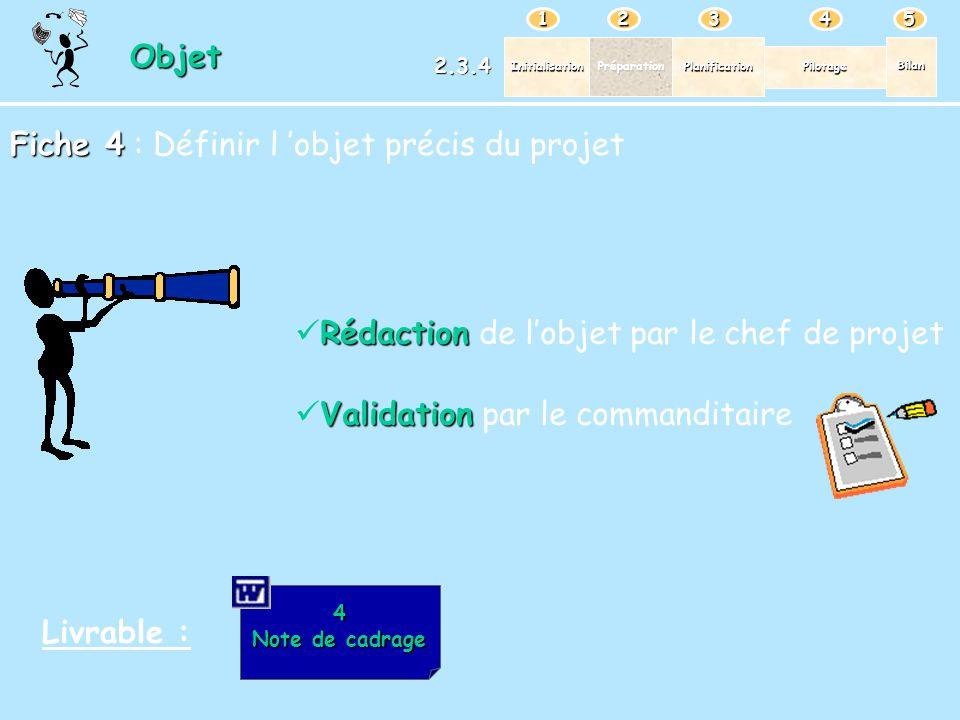 Fiche 4 : Définir l 'objet précis du projet