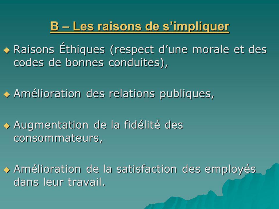 B – Les raisons de s'impliquer