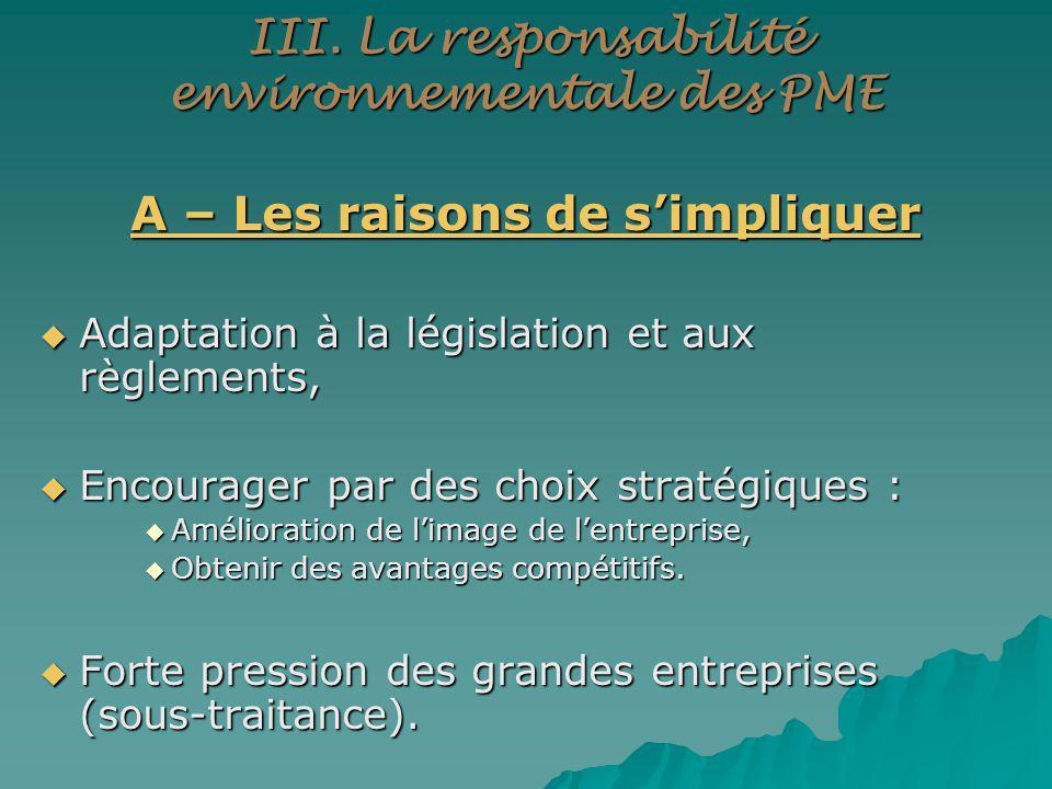 III. La responsabilité environnementale des PME