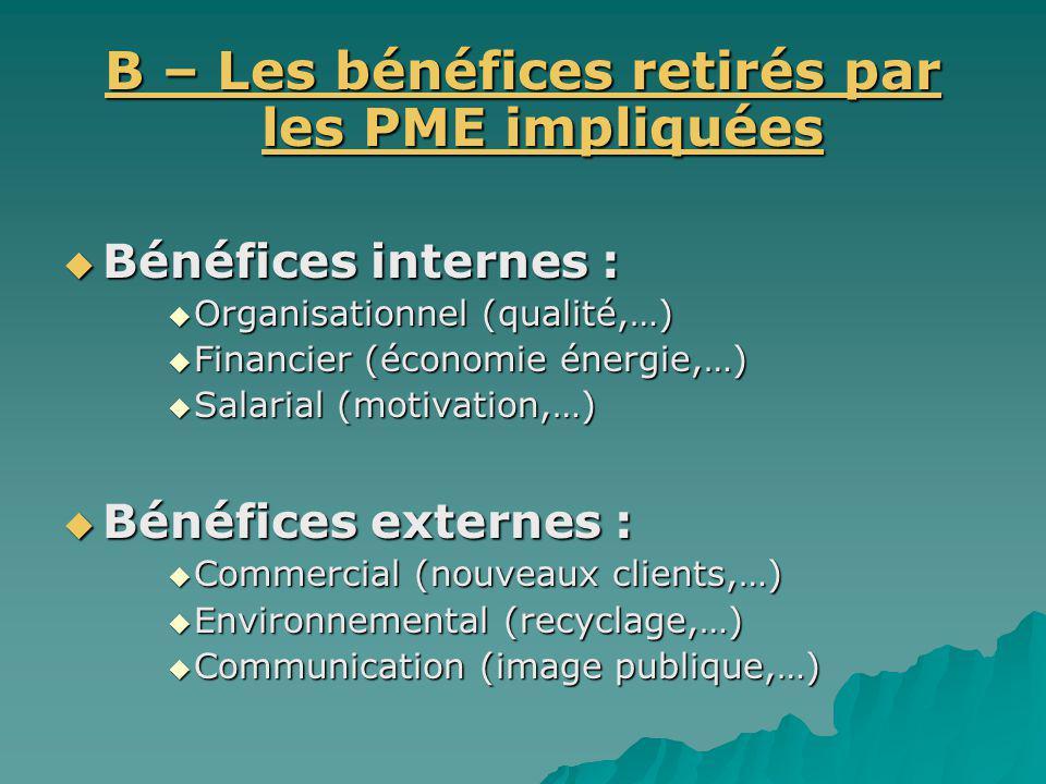 B – Les bénéfices retirés par les PME impliquées