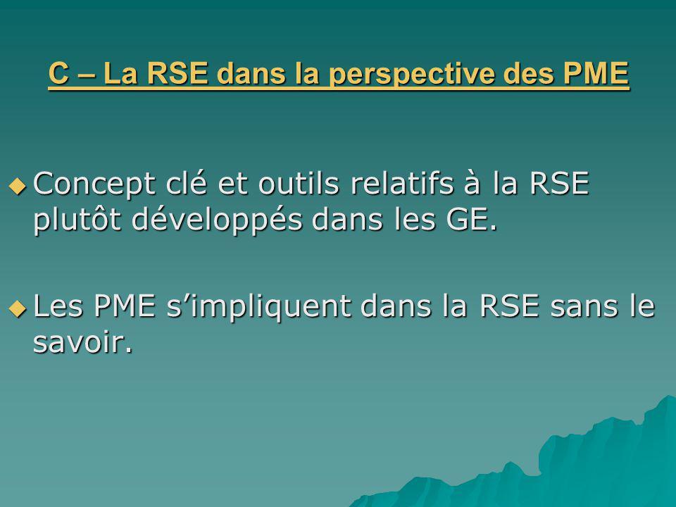 C – La RSE dans la perspective des PME