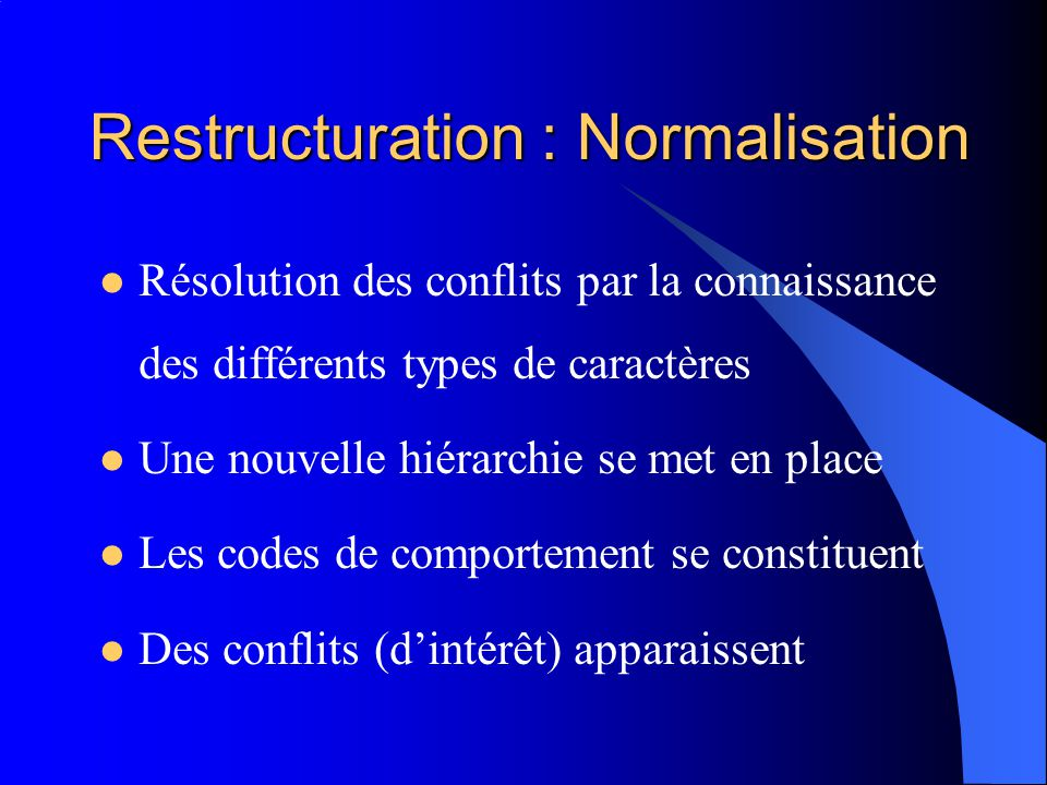 Restructuration : Normalisation