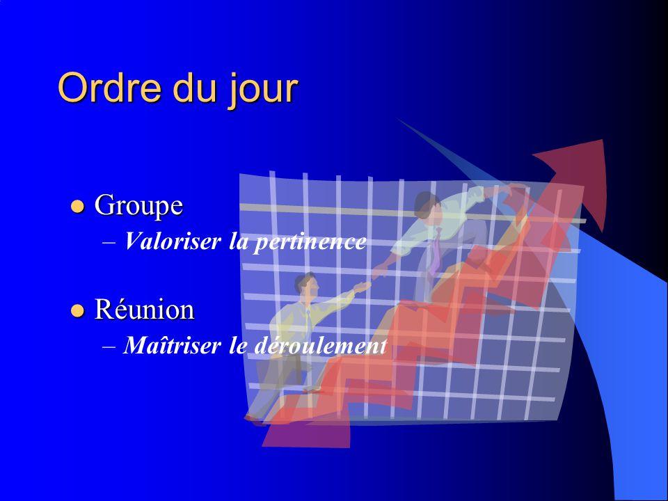 Ordre du jour Groupe Réunion Valoriser la pertinence