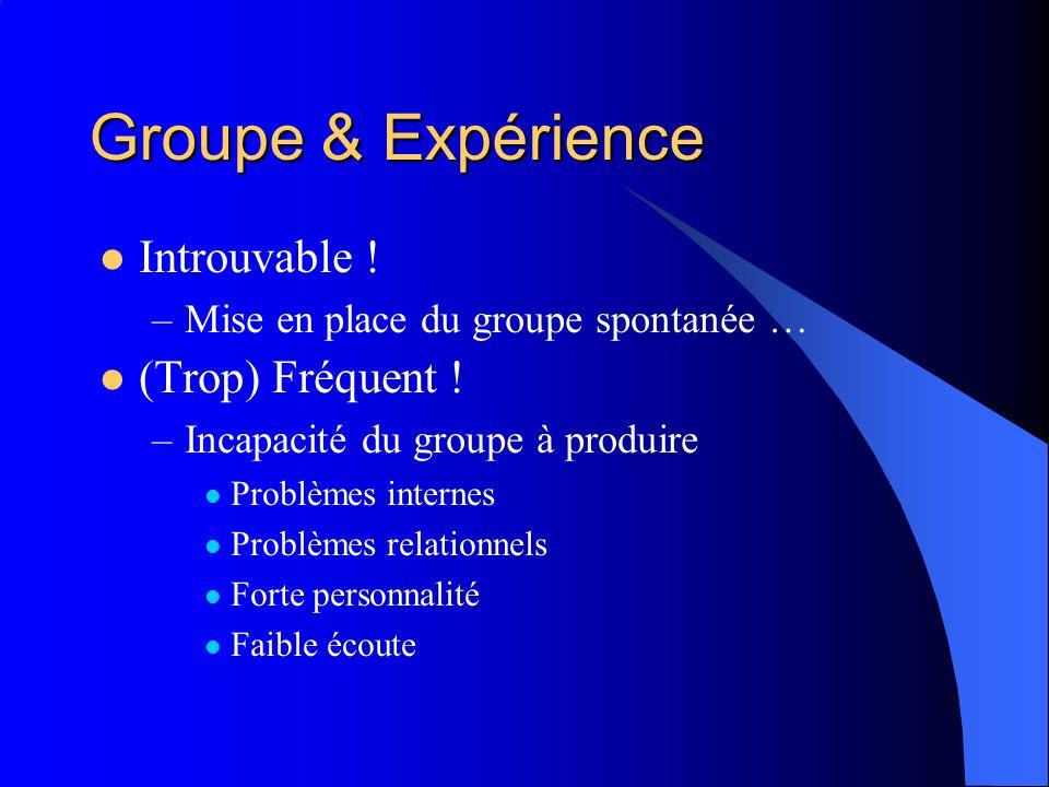 Groupe & Expérience Introuvable ! (Trop) Fréquent !