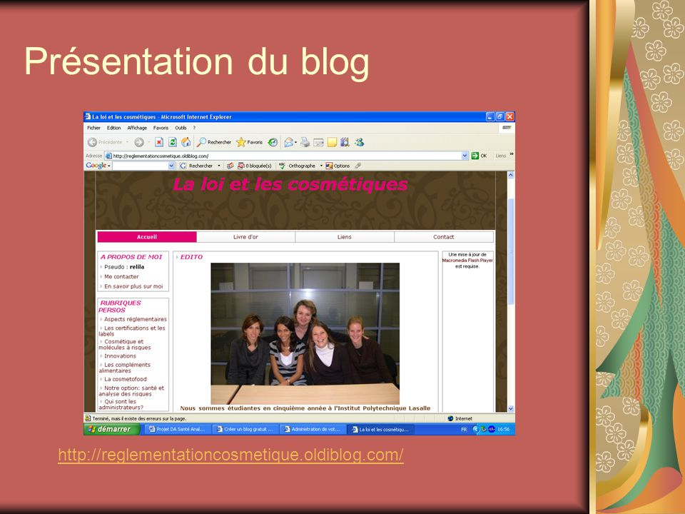Présentation du blog http://reglementationcosmetique.oldiblog.com/