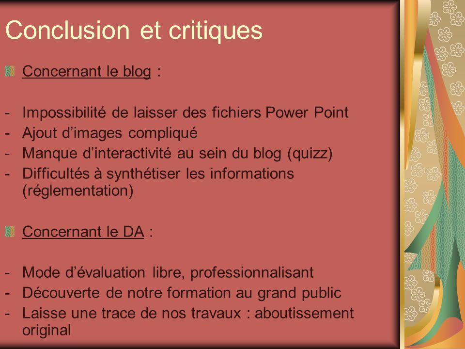 Conclusion et critiques