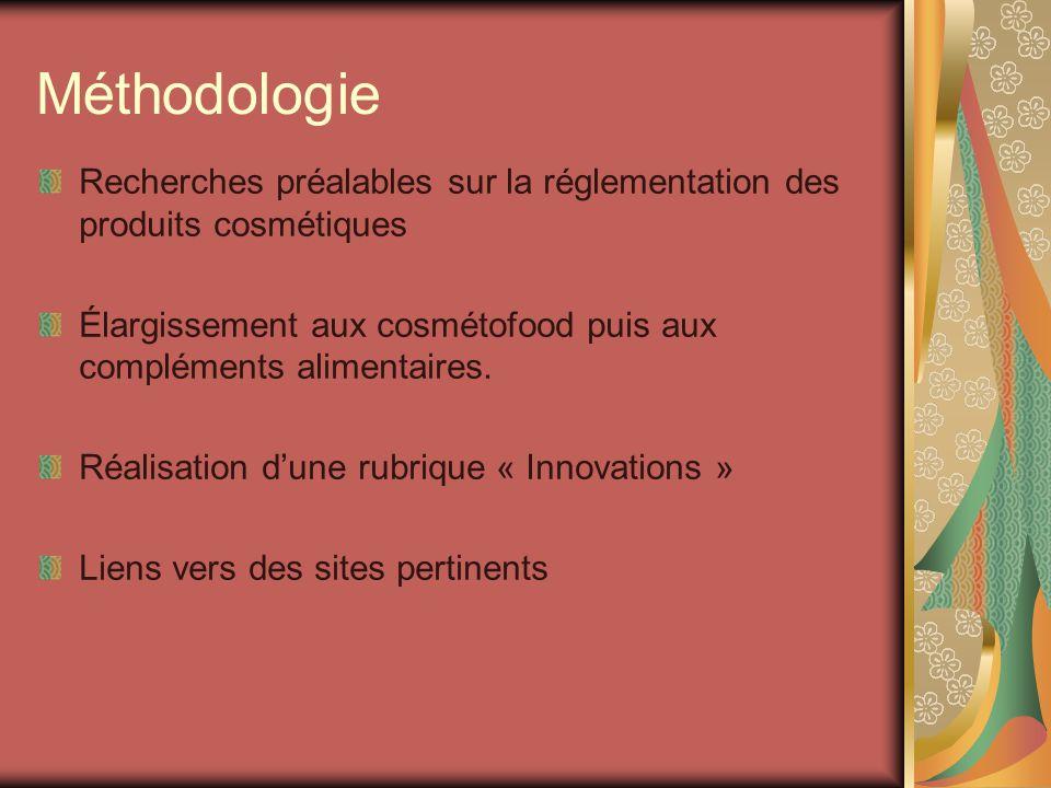 Méthodologie Recherches préalables sur la réglementation des produits cosmétiques. Élargissement aux cosmétofood puis aux compléments alimentaires.