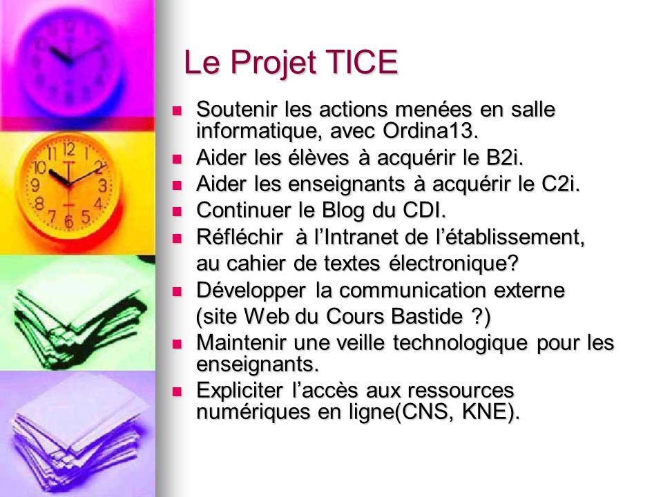Le Projet TICE Soutenir les actions menées en salle informatique, avec Ordina13. Aider les élèves à acquérir le B2i.