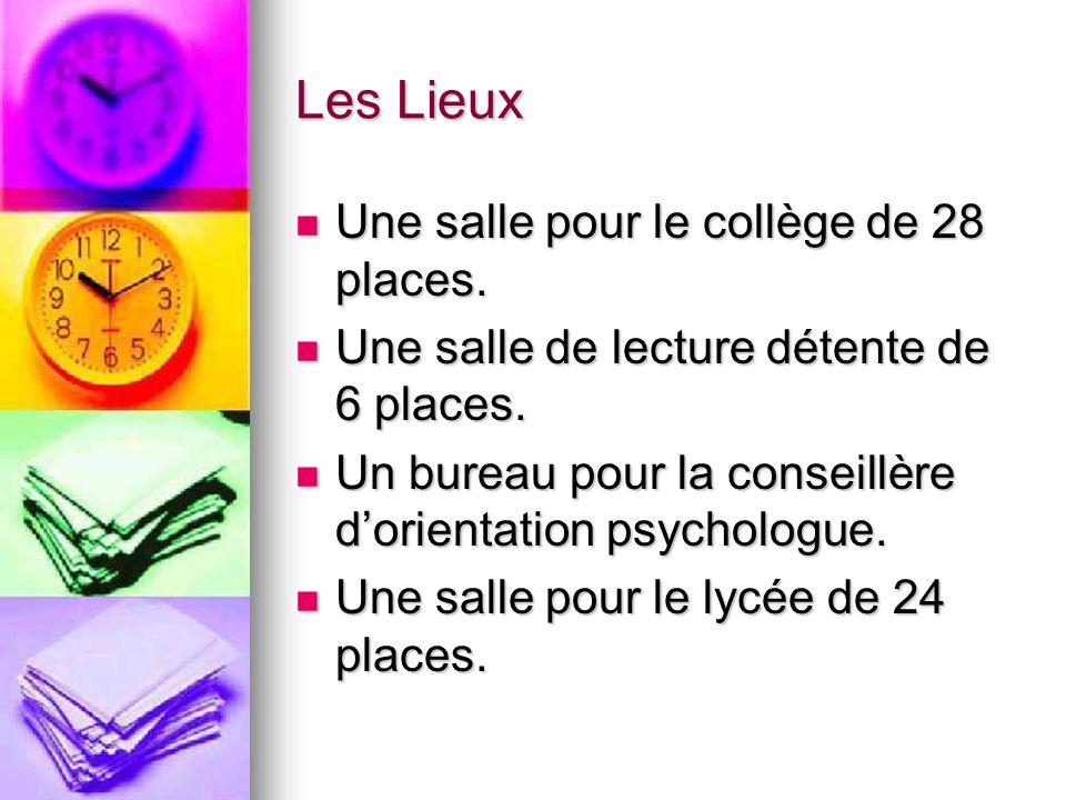 Les Lieux Une salle pour le collège de 28 places.