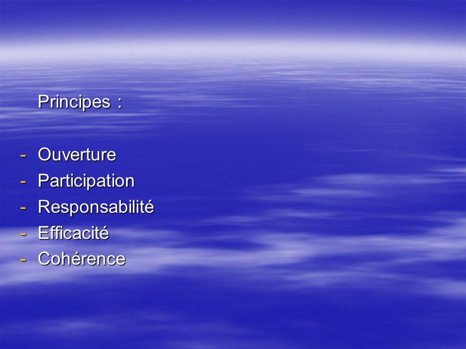 Principes : Ouverture Participation Responsabilité Efficacité