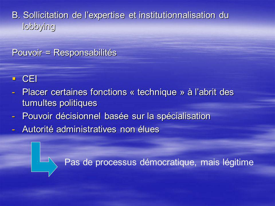 B. Sollicitation de l'expertise et institutionnalisation du lobbying