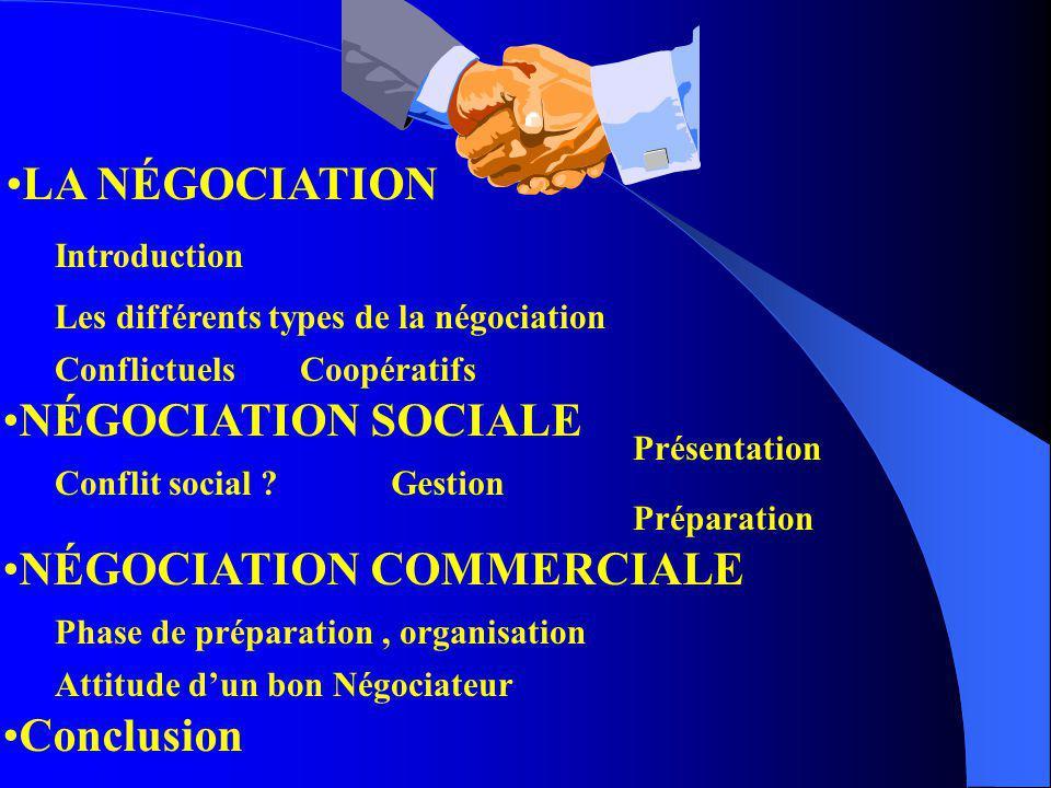 LA NÉGOCIATION NÉGOCIATION SOCIALE NÉGOCIATION COMMERCIALE Conclusion