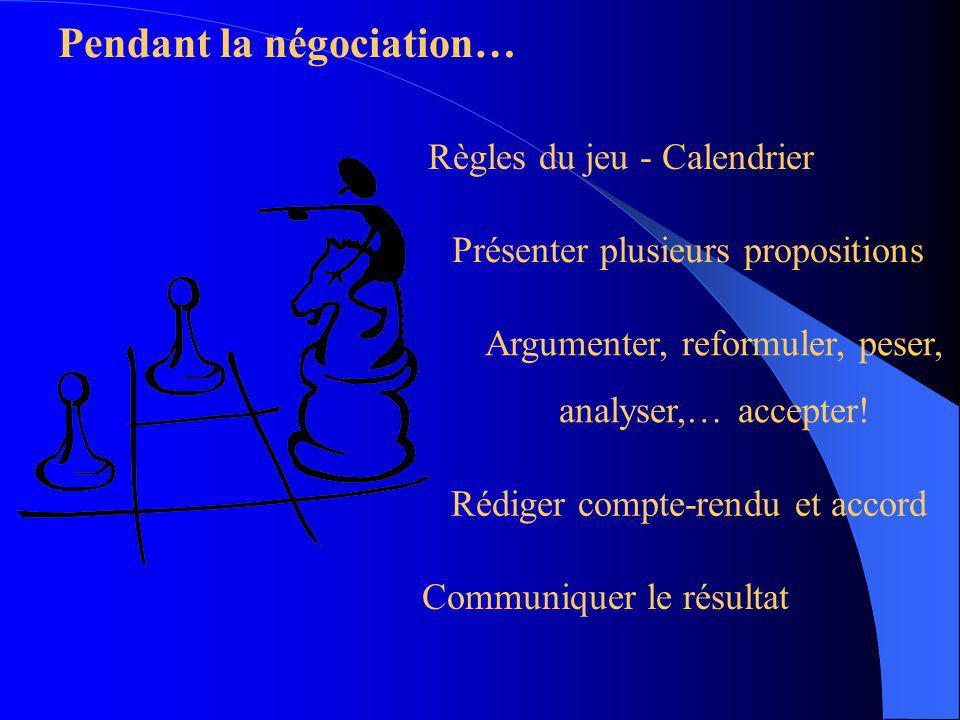 Pendant la négociation…