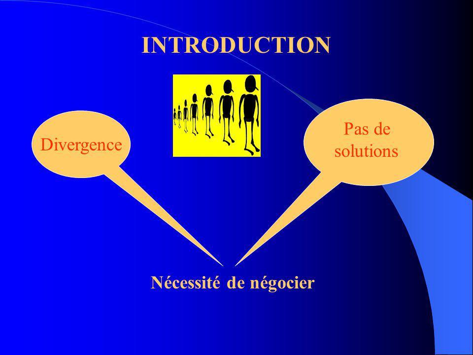 INTRODUCTION Pas de solutions Divergence Nécessité de négocier