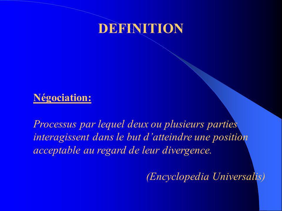 DEFINITION Négociation: Processus par lequel deux ou plusieurs parties