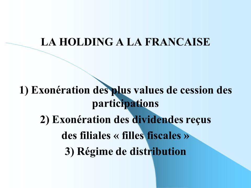 LA HOLDING A LA FRANCAISE 2) Exonération des dividendes reçus