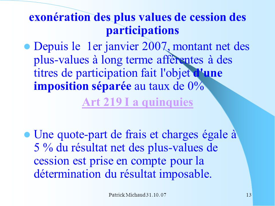 exonération des plus values de cession des participations
