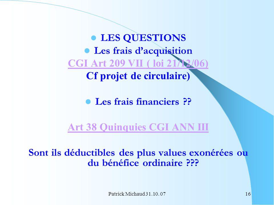 Les frais d'acquisition CGI Art 209 VII ( loi 21/12/06)