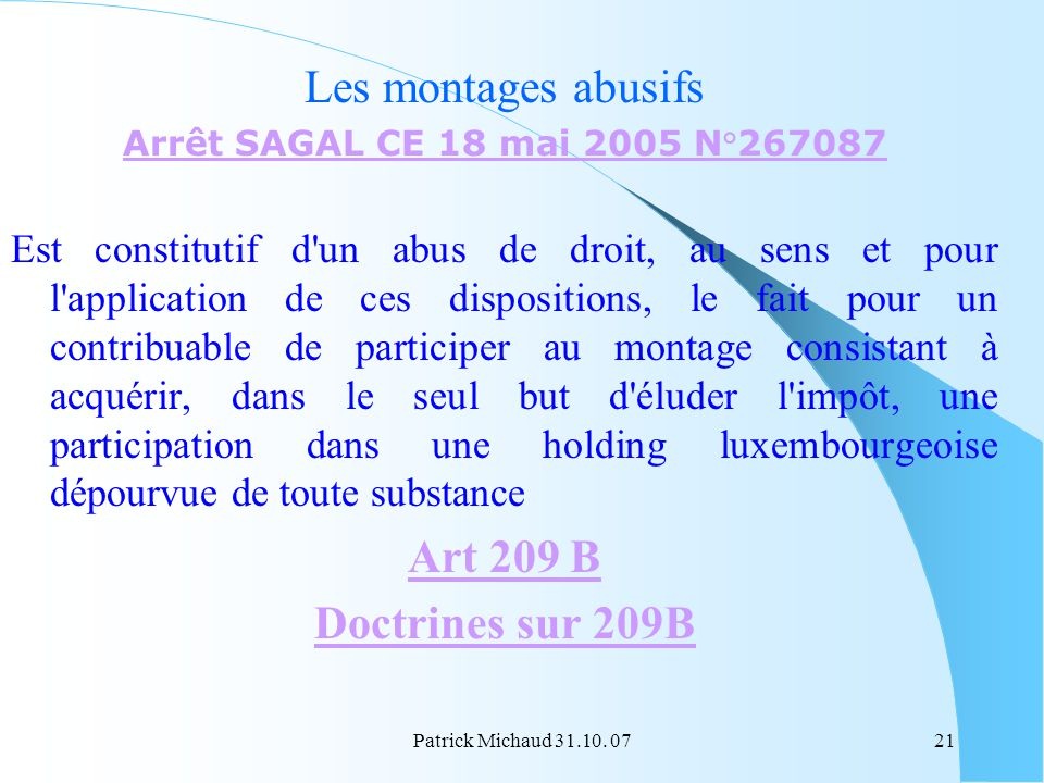 Les montages abusifs Art 209 B Doctrines sur 209B
