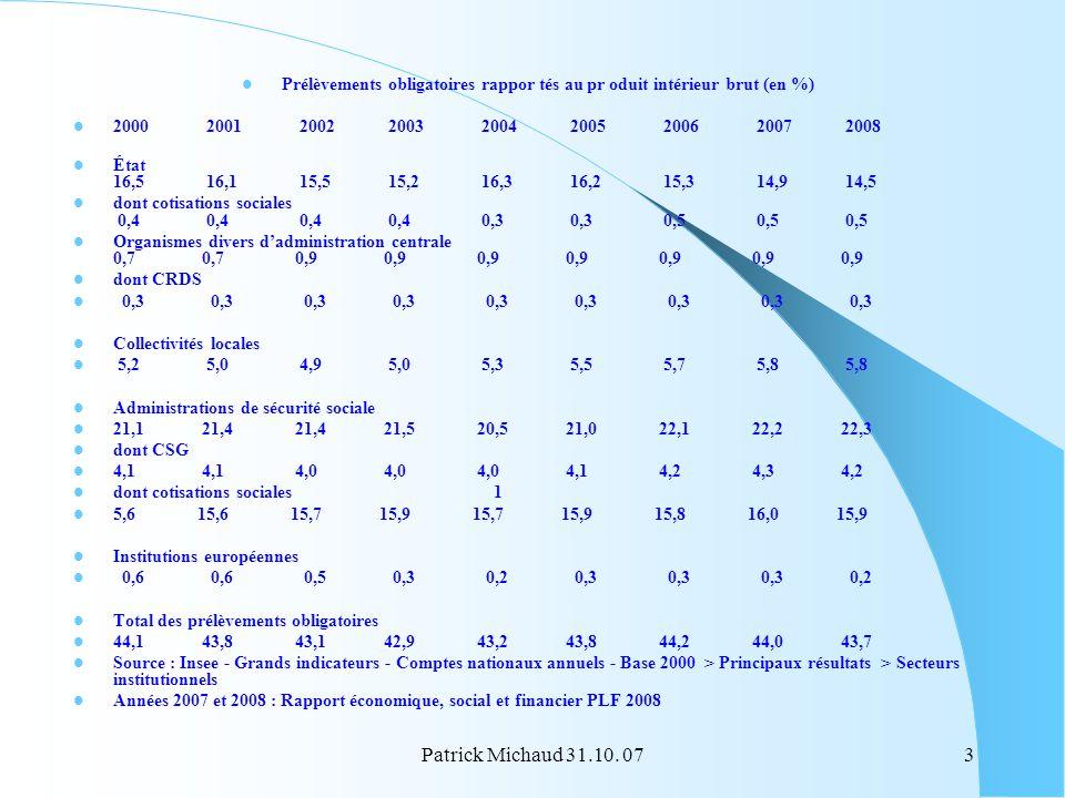 Prélèvements obligatoires rappor tés au pr oduit intérieur brut (en %)