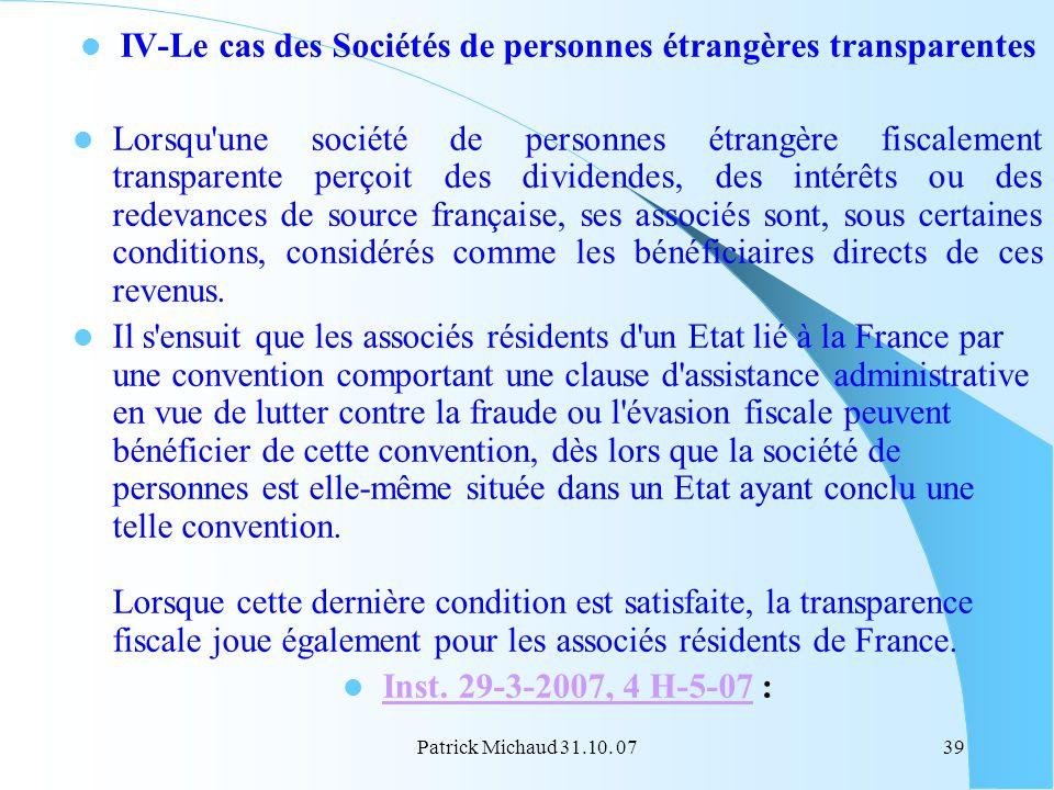 IV-Le cas des Sociétés de personnes étrangères transparentes