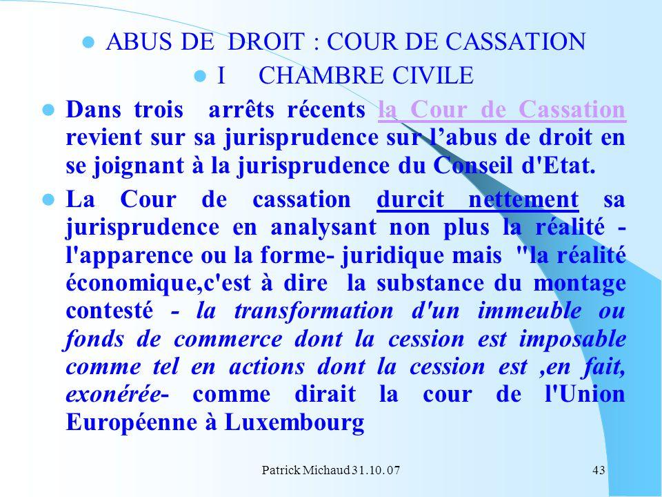 ABUS DE DROIT : COUR DE CASSATION