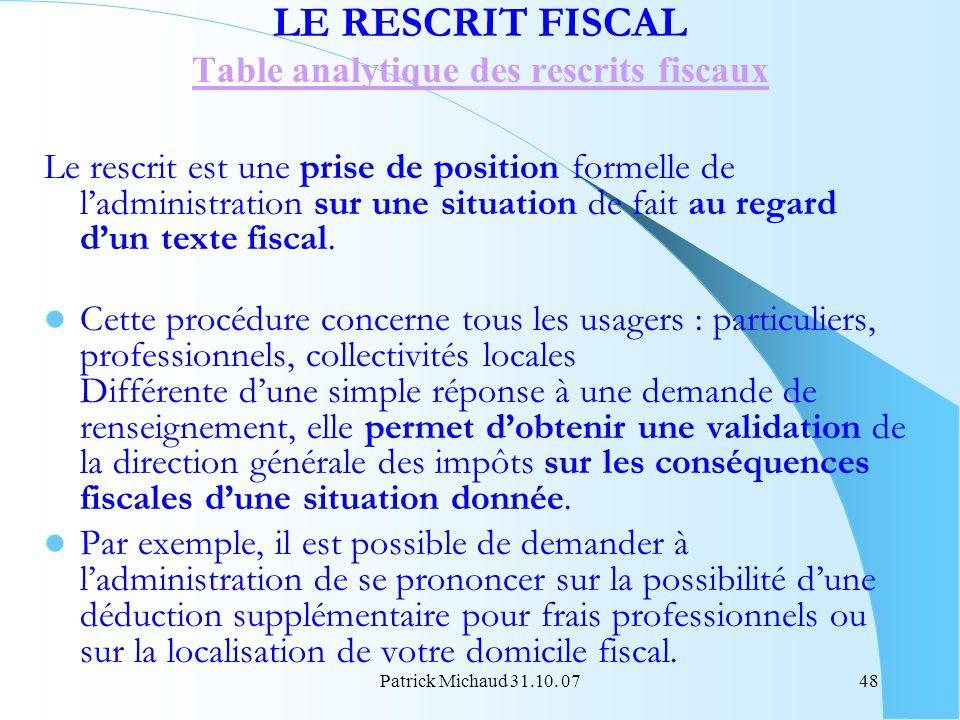 Table analytique des rescrits fiscaux