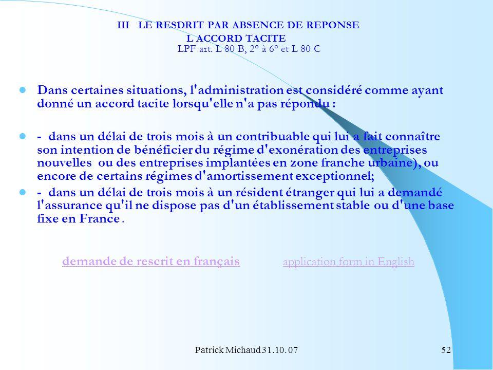 III LE RESDRIT PAR ABSENCE DE REPONSE