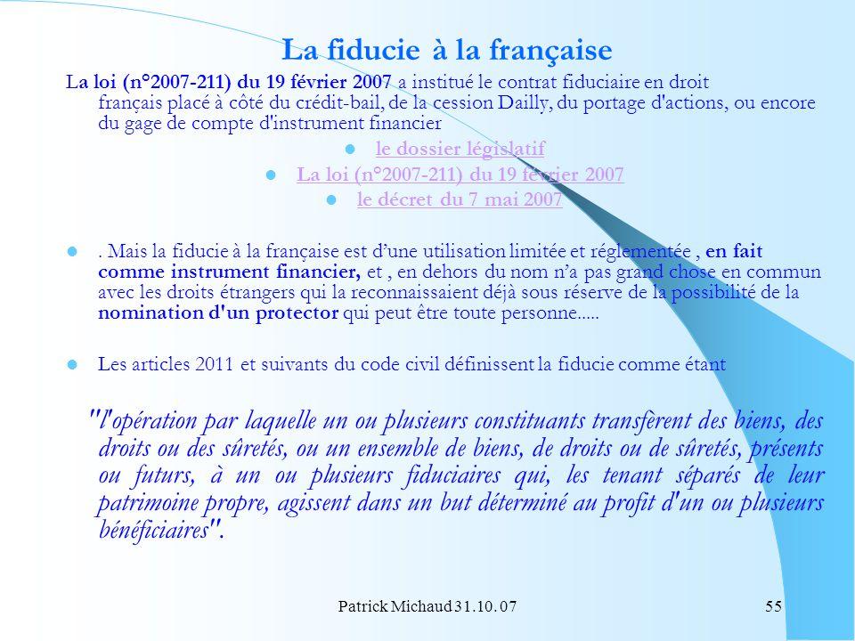 La fiducie à la française