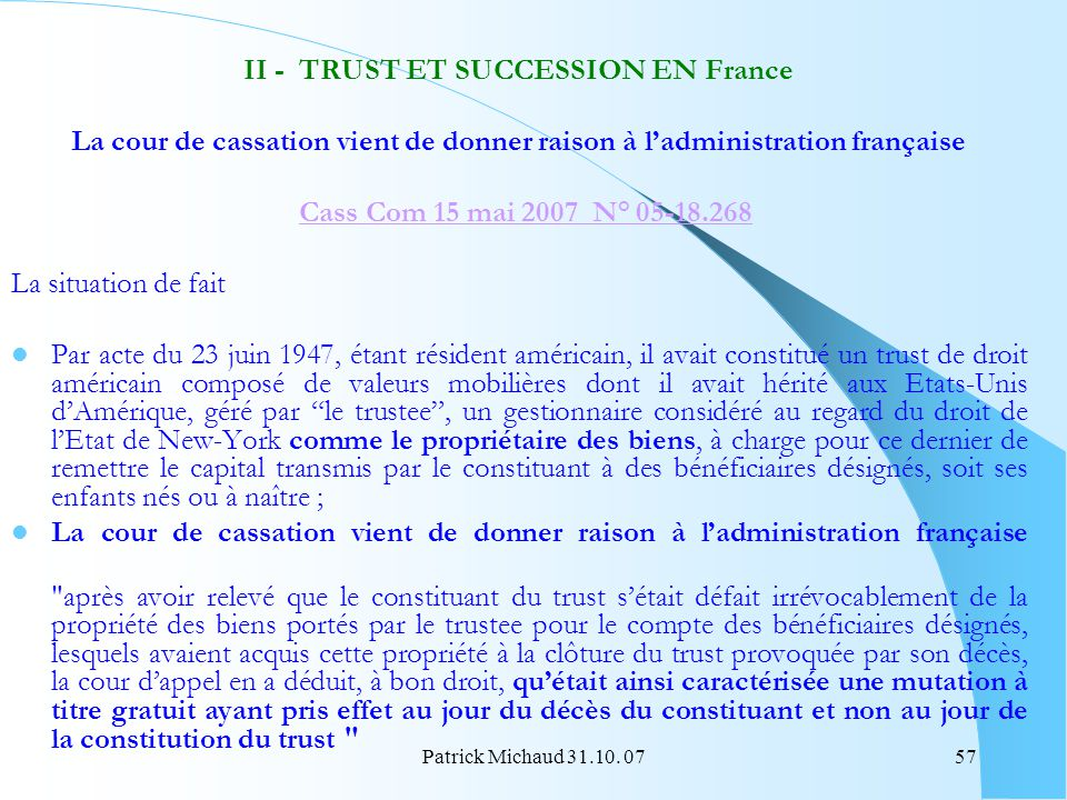 II - TRUST ET SUCCESSION EN France