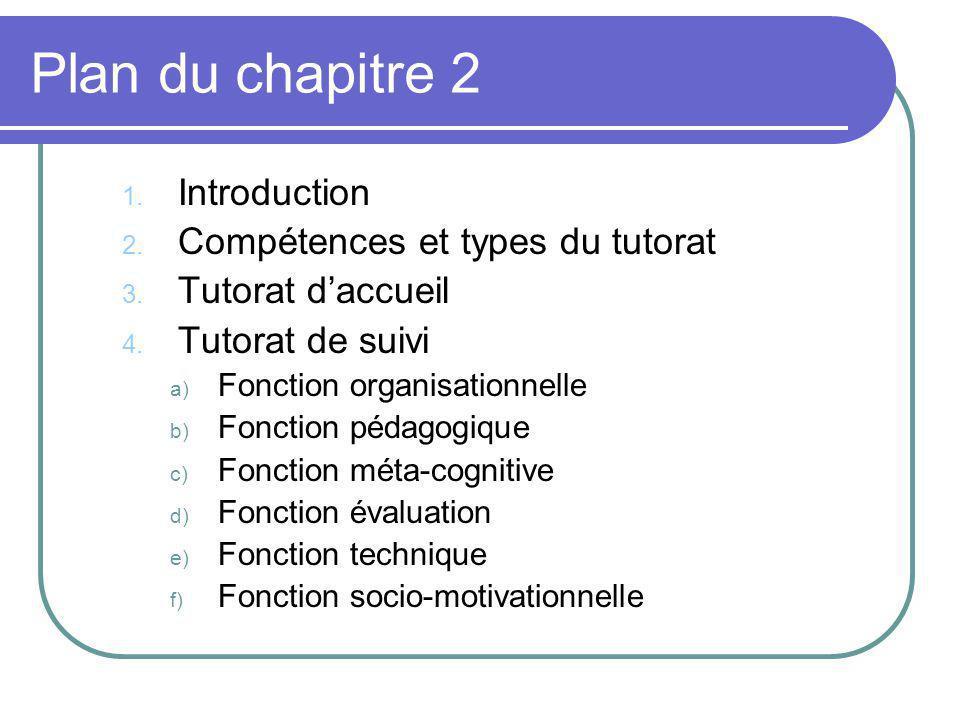 Plan du chapitre 2 Introduction Compétences et types du tutorat
