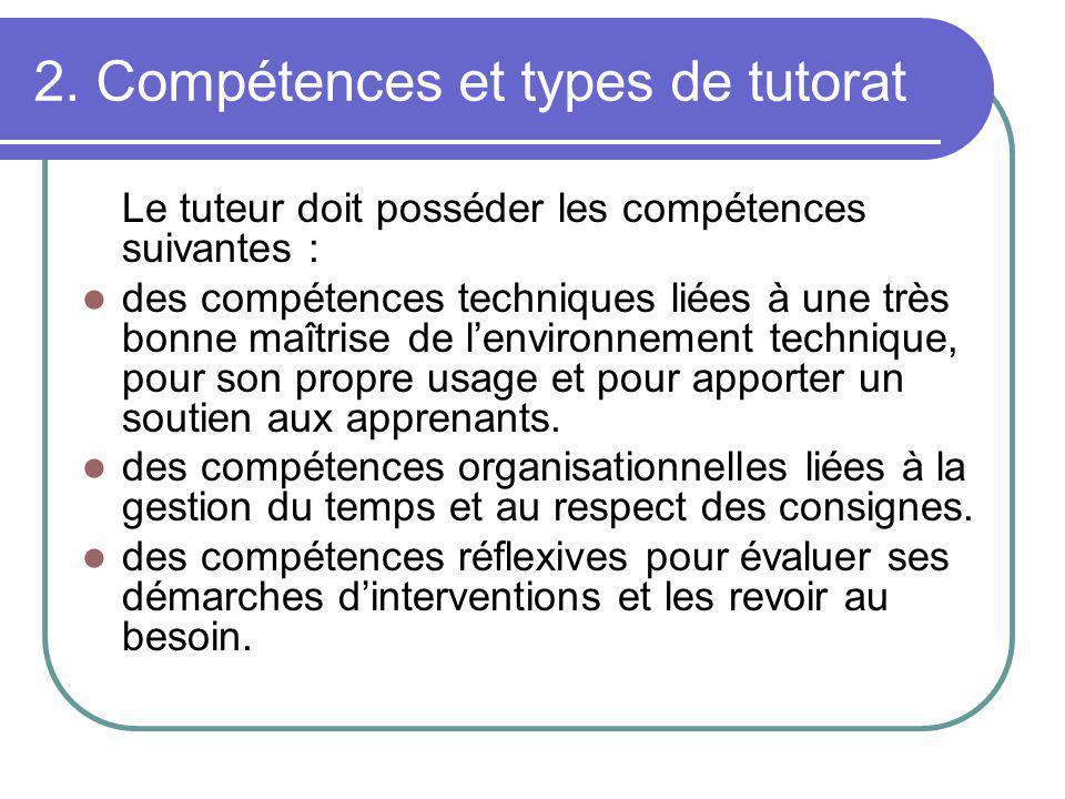 2. Compétences et types de tutorat