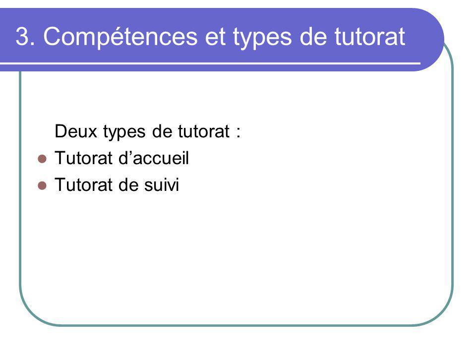 3. Compétences et types de tutorat