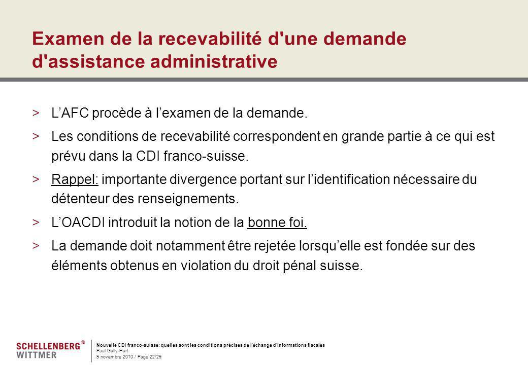 Examen de la recevabilité d une demande d assistance administrative