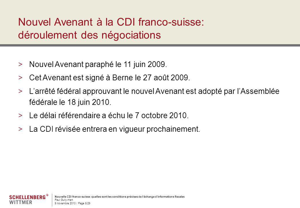 Nouvel Avenant à la CDI franco-suisse: déroulement des négociations
