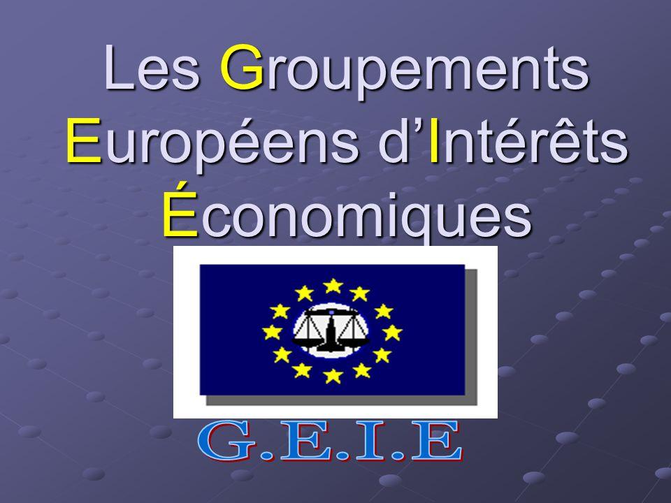 Les Groupements Européens d'Intérêts Économiques