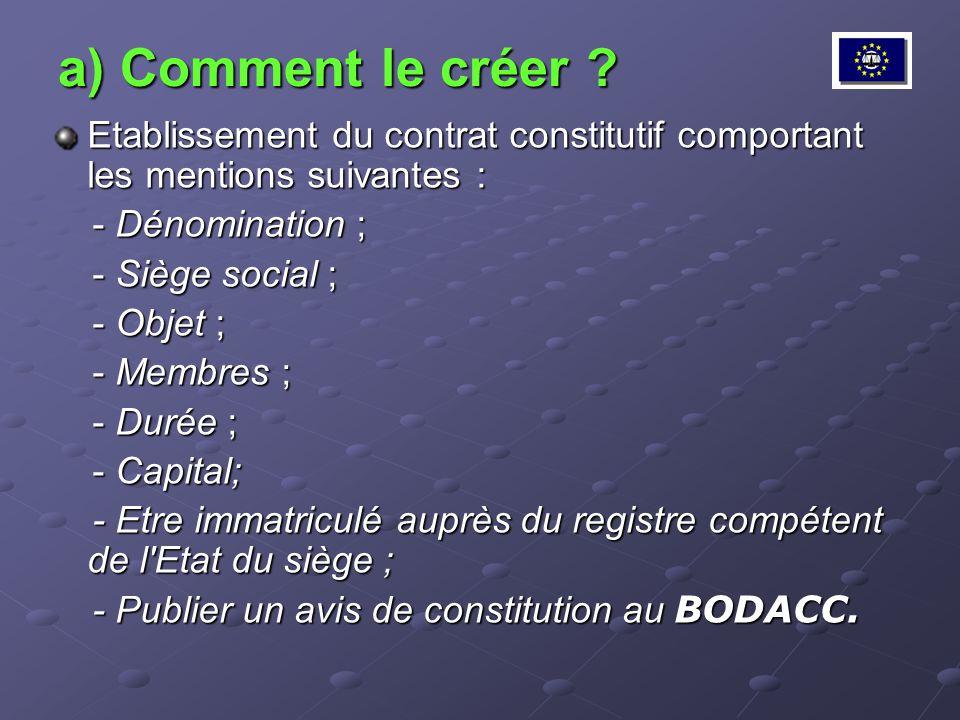 a) Comment le créer Etablissement du contrat constitutif comportant les mentions suivantes : - Dénomination ;