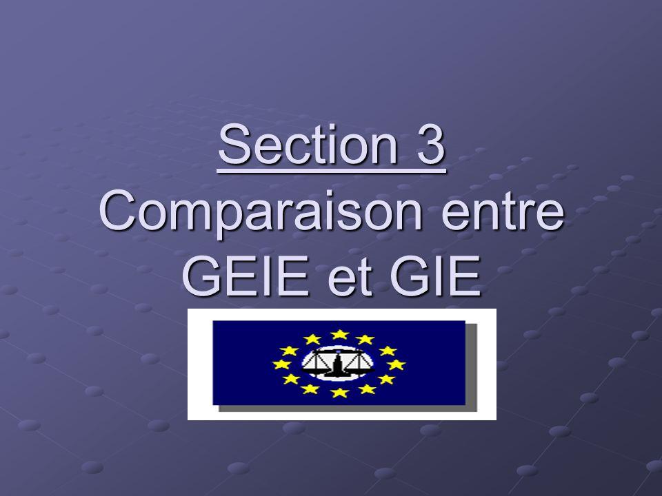 Section 3 Comparaison entre GEIE et GIE