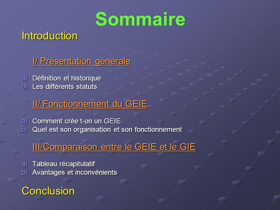 Sommaire Introduction Conclusion I/ Présentation générale