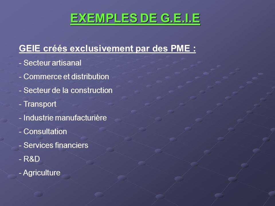 EXEMPLES DE G.E.I.E GEIE créés exclusivement par des PME :