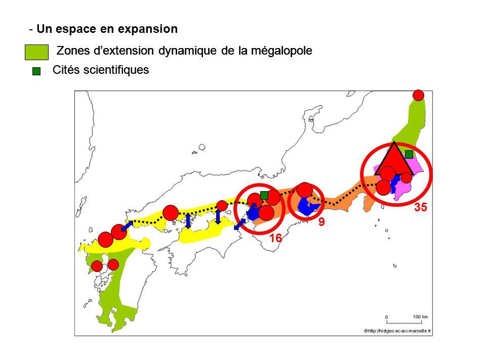 Un espace en expansion Zones d'extension dynamique de la mégalopole. Zones d'extension dynamique de la mégalopole.