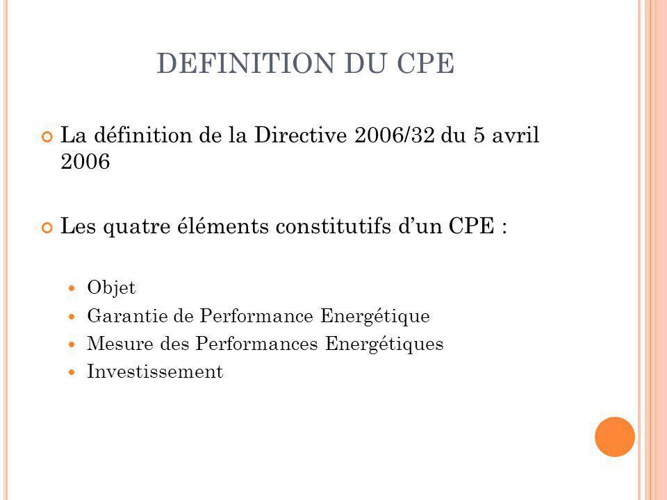 DEFINITION DU CPE La définition de la Directive 2006/32 du 5 avril 2006. Les quatre éléments constitutifs d'un CPE :