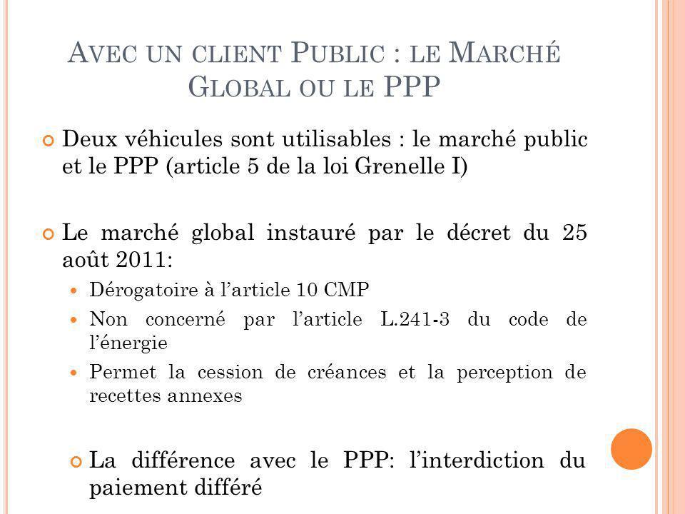 Avec un client Public : le Marché Global ou le PPP