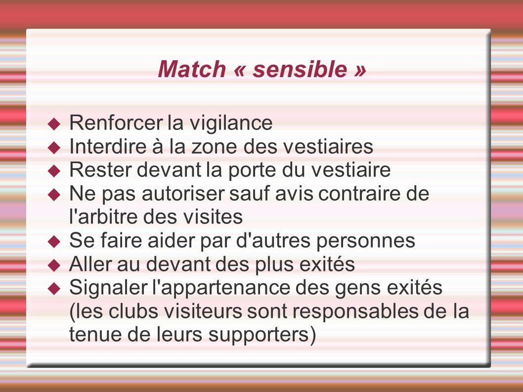 Match « sensible » Renforcer la vigilance