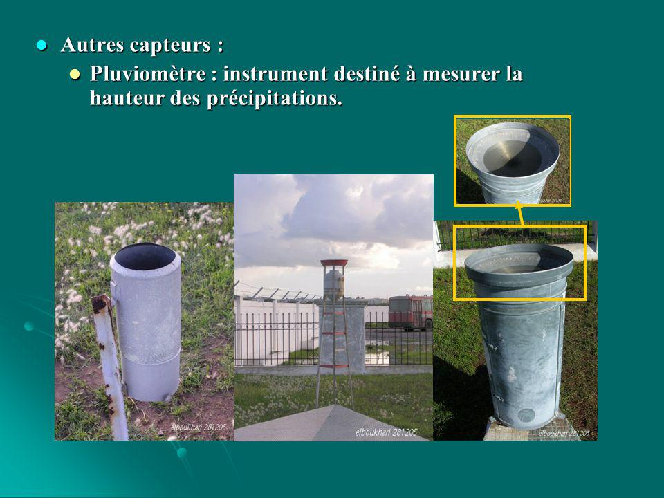 Autres capteurs : Pluviomètre : instrument destiné à mesurer la hauteur des précipitations.