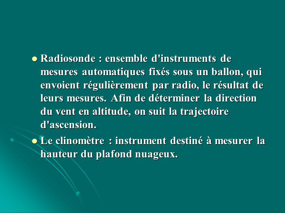 Radiosonde : ensemble d instruments de mesures automatiques fixés sous un ballon, qui envoient régulièrement par radio, le résultat de leurs mesures. Afin de déterminer la direction du vent en altitude, on suit la trajectoire d ascension.